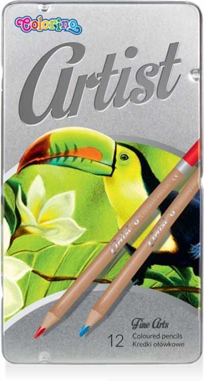 Kredki ołówkowe ARTIST 12 kolorów w metalowym pudełku Colorino 883256