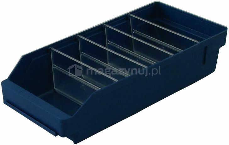 Pojemnik plastikowy warsztatowy z przekładkami. Wym: 400x180x95mm