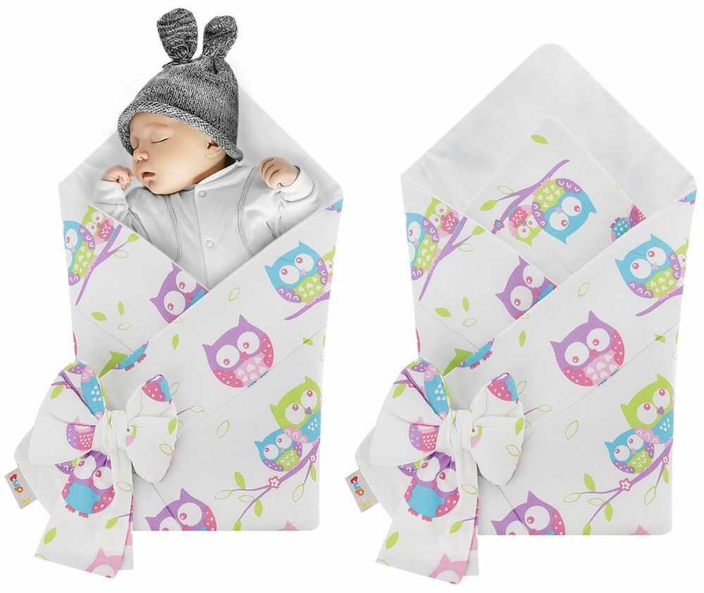 Rożek niemowlęcy bawełniany otulacz dziecięcy becik - SOWY BIEL
