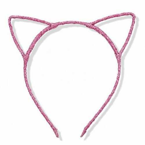 Opaska Uszy Kotka, różowe z brokatem