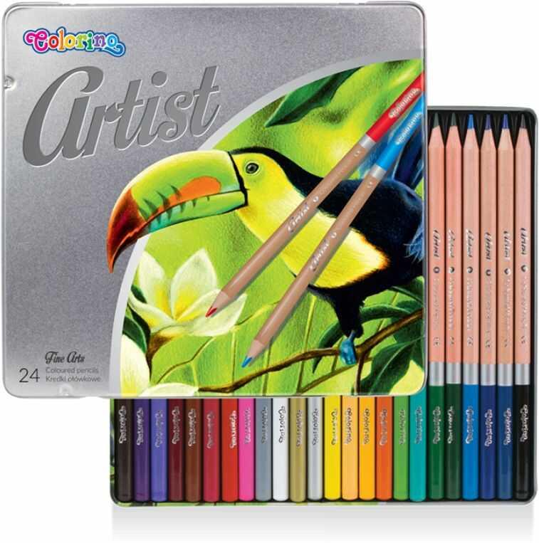 Kredki ołówkowe ARTIST 24 kolory w metalowym pudełku Colorino 883263