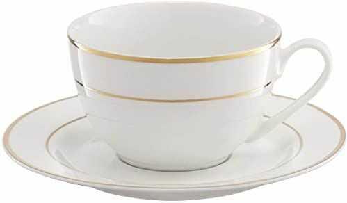 Ambition 29194 serwis do kawy Aura 12-częściowy biały złoty filiżanki zestaw filiżanek zestaw naczyń do kawy porcelana nowoczesny elegancki