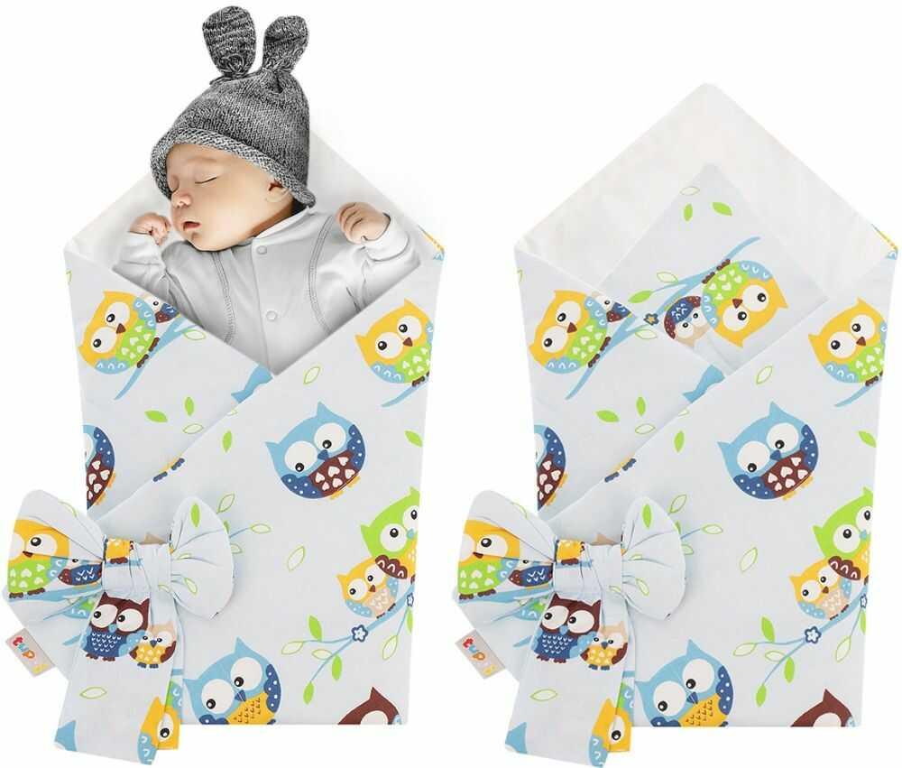 Rożek niemowlęcy bawełniany otulacz dziecięcy becik - SOWY NIEBIESKIE