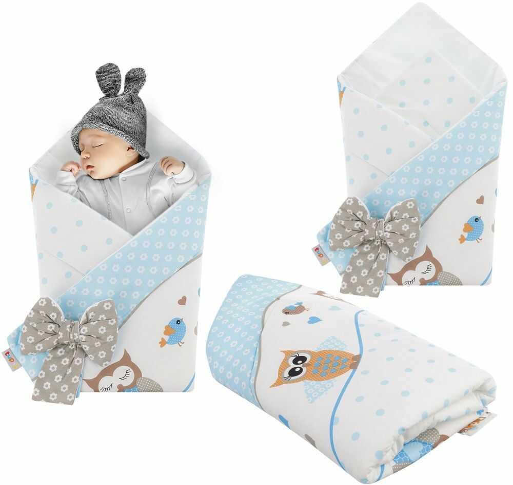 Rożek niemowlęcy bawełniany otulacz dziecięcy becik - SOWY NA ROWERACH NIEBIESKIE