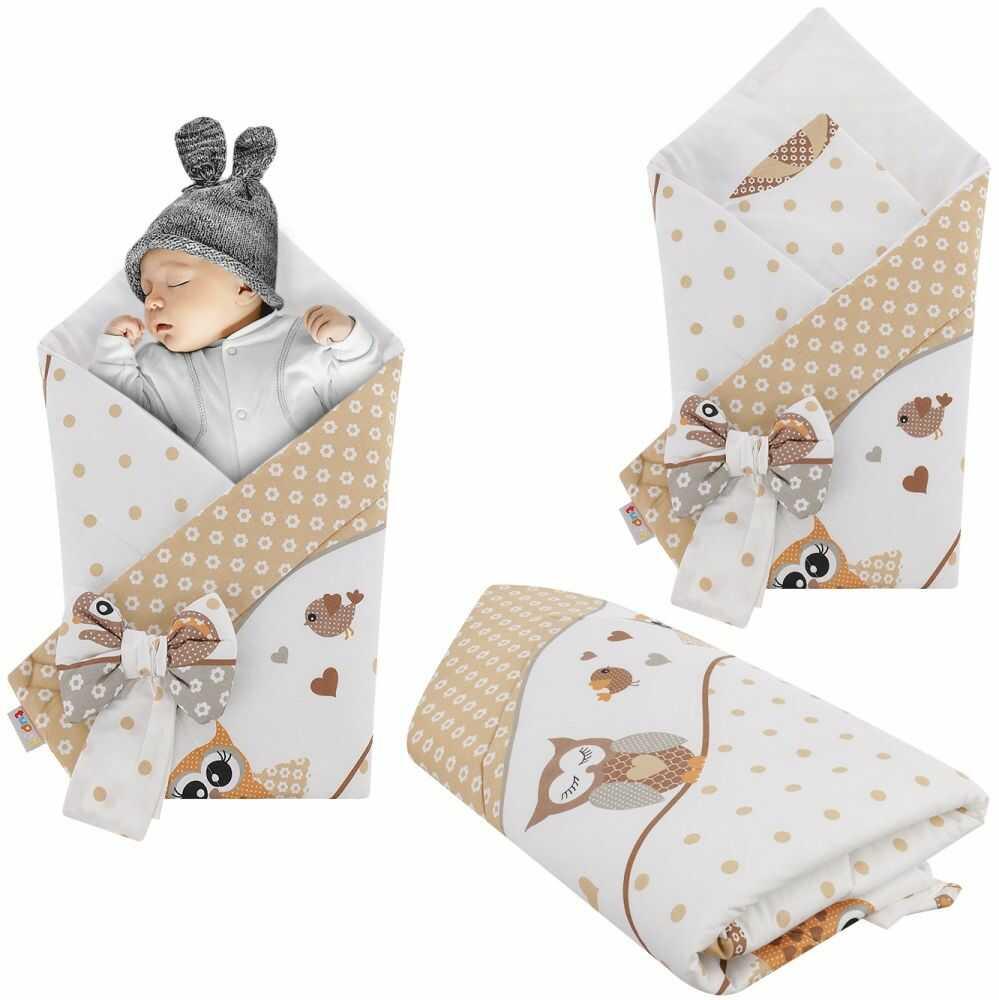 Rożek niemowlęcy bawełniany otulacz dziecięcy becik - SOWY NA ROWERACH BEŻ