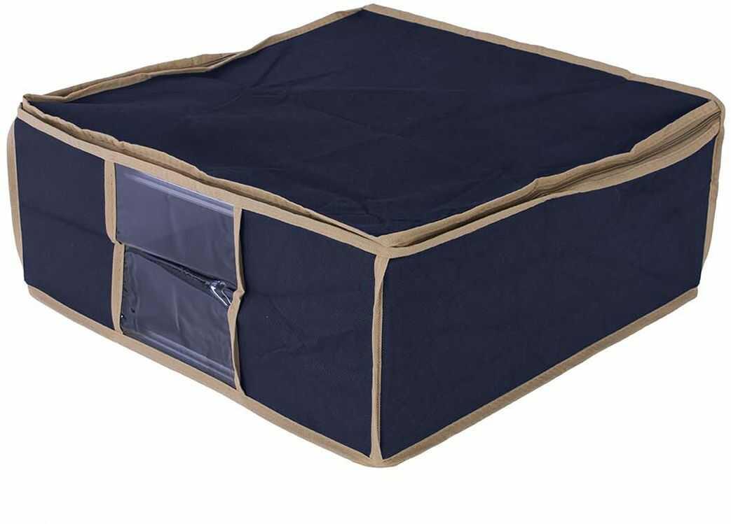 Organizer do szafy na pościel niebieski 45 x 45 x 20 - niebieski