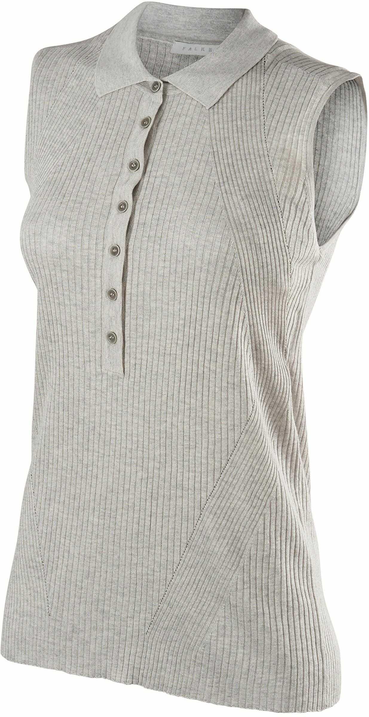 FALKE Imperia, damska koszulka polo z jedwabiu/lnu, 1 sztuka, szary (Light Grey Melange 3845), rozmiar: M