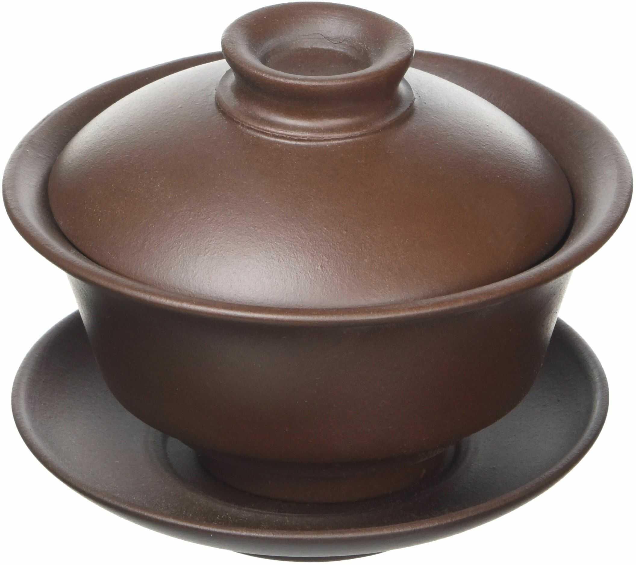 Tea Soul Zisha 110 ml, typowo chiński gawawan z określonej czerwonej gliny Yixing, ceramika, brązowa, 10 x 10 x 8 cm