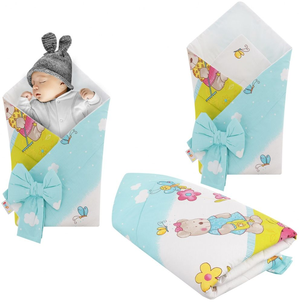 Rożek niemowlęcy bawełniany otulacz dziecięcy becik - OGRODNIK