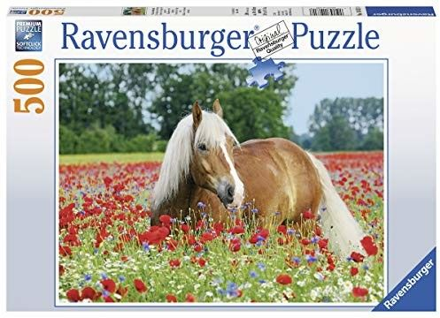 Puzzle Ravensburger 500 - Konie na łące maków, Horses in a meadow of poppies