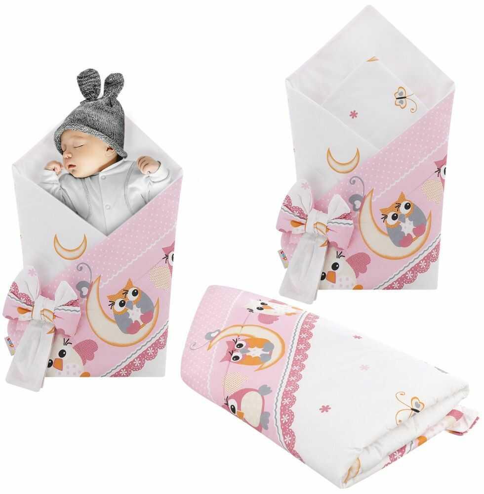 Rożek niemowlęcy bawełniany otulacz dziecięcy becik -SOWY NOCĄ RÓŻ