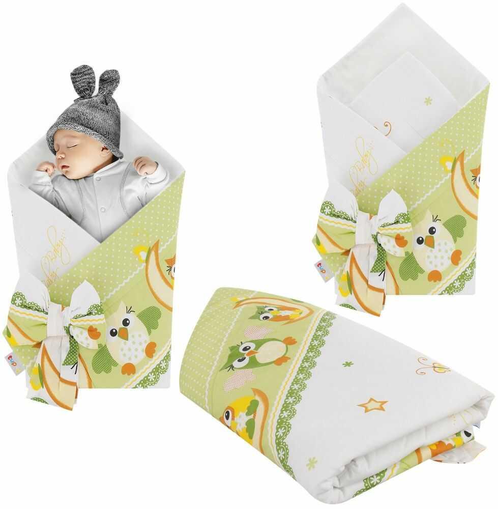 Rożek niemowlęcy bawełniany otulacz dziecięcy becik -SOWY NOCĄ ZIELEŃ