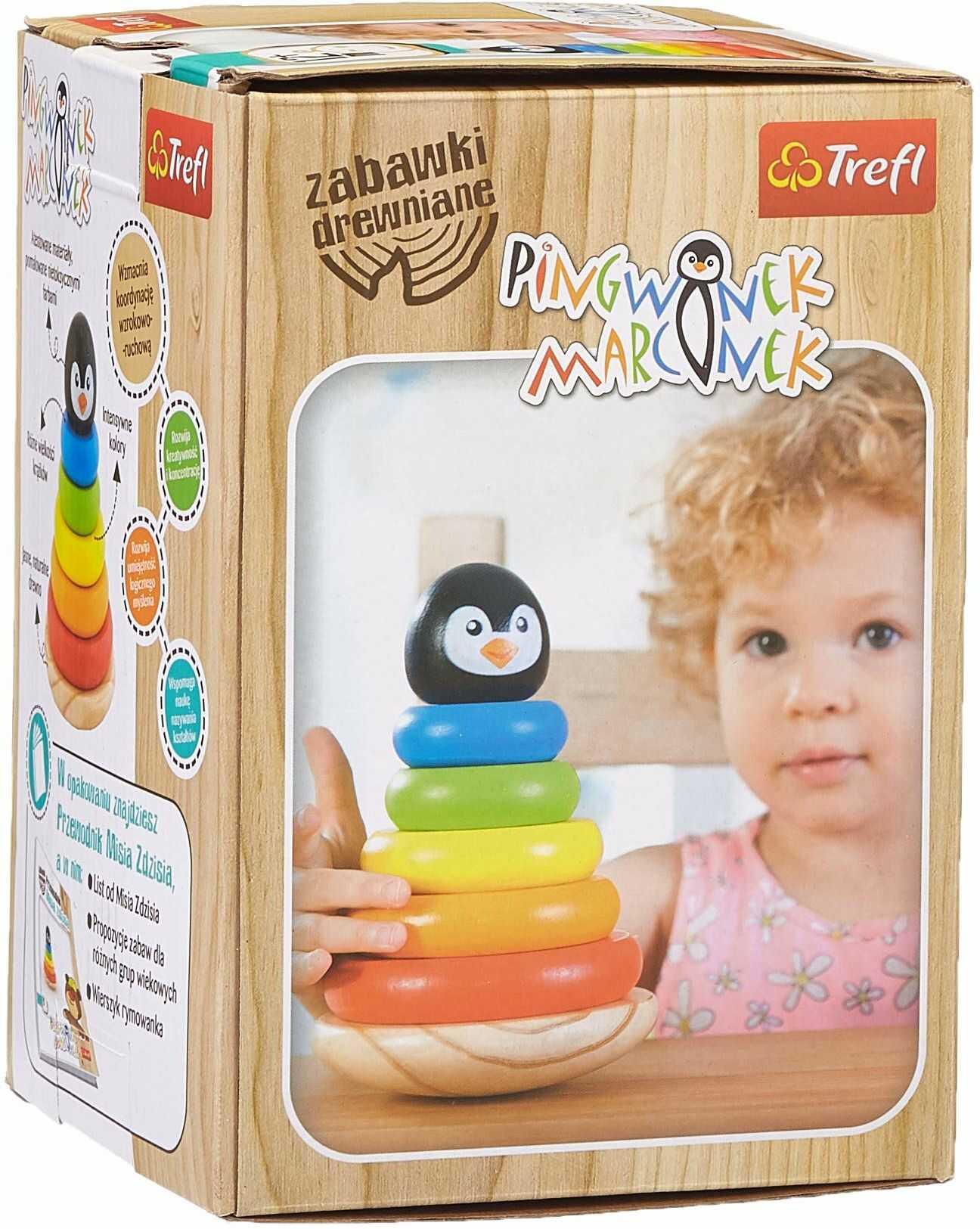 Trefl Pingwinek Marcinek Zabawka Drewniana dla Dzieci od 12 miesięcy