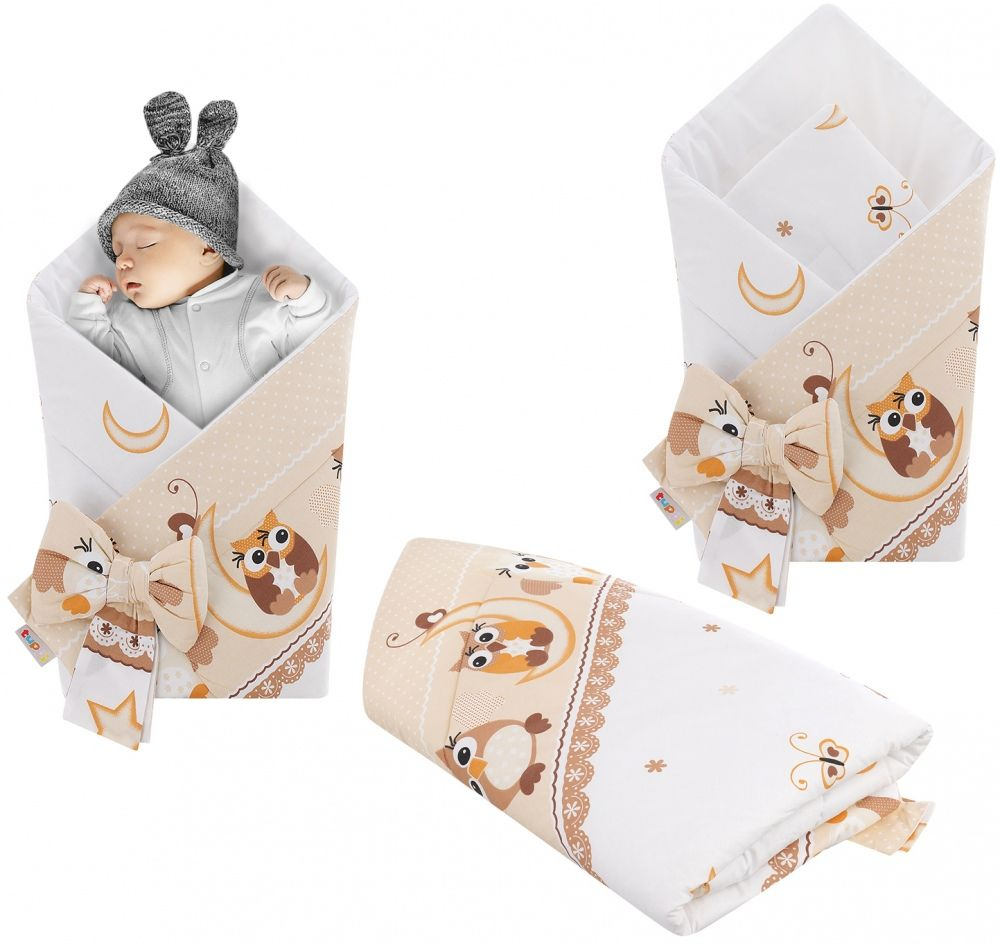 Rożek niemowlęcy bawełniany otulacz dziecięcy becik -SOWY NOCĄ BEŻ