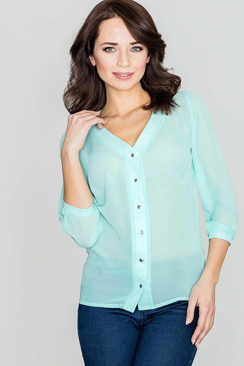 """elegancka zielona bluzka na guziki z dekoltem """"v"""""""