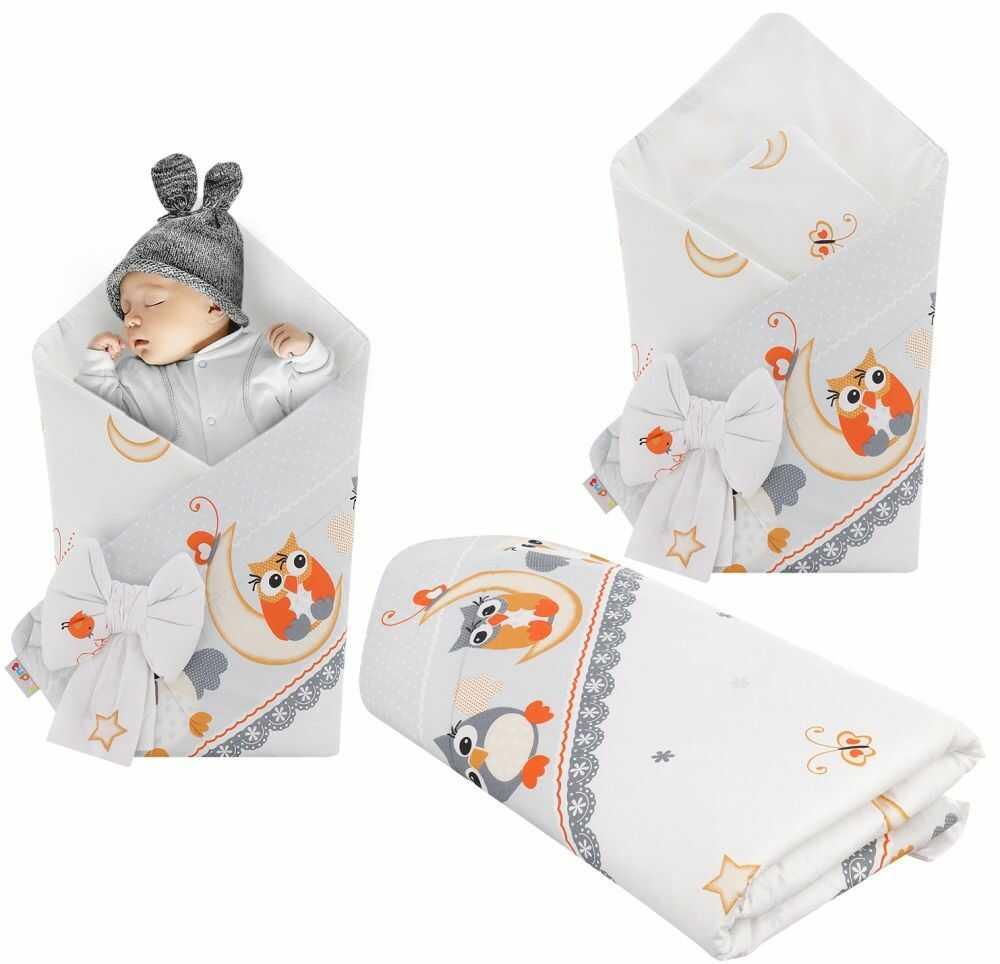 Rożek niemowlęcy bawełniany otulacz dziecięcy becik - SOWY NOCĄ SZARE