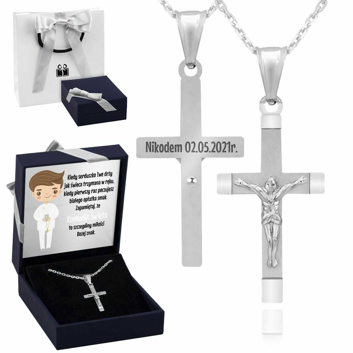 Srebrny 925 Krzyżyk z Jezusem Komunia Chrzest Dedykacja