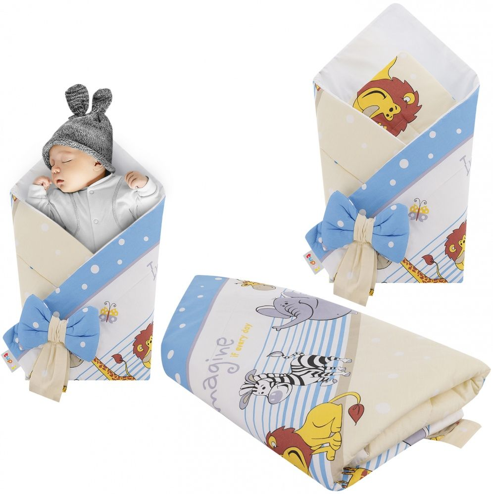 Rożek niemowlęcy bawełniany otulacz dziecięcy becik - SAFARI NIEBIESKI