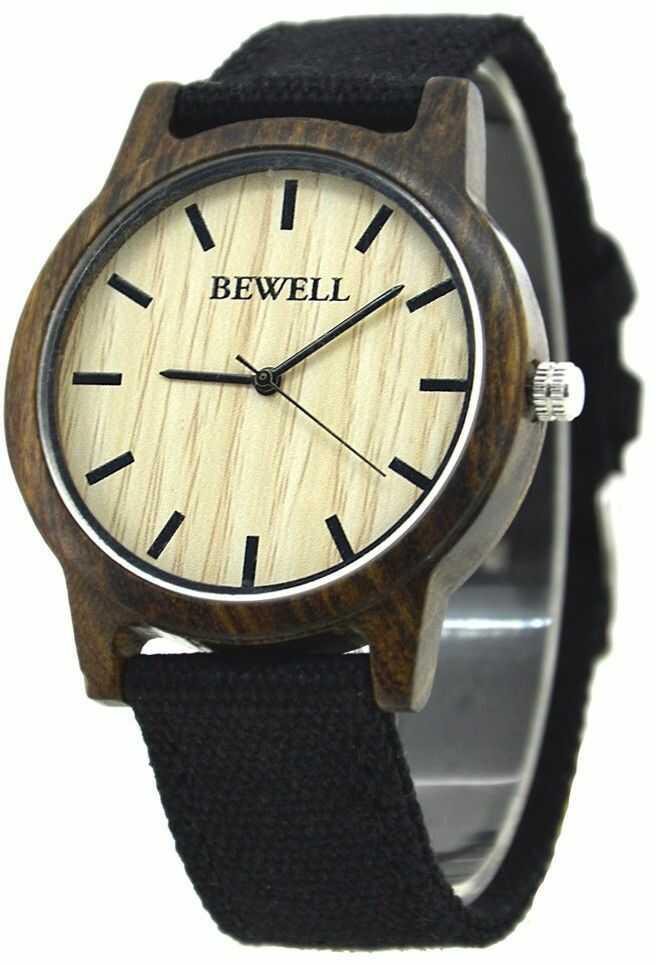Stylowy drewniany zegarek Bewell Basic Czarny + pudełko na zegarek