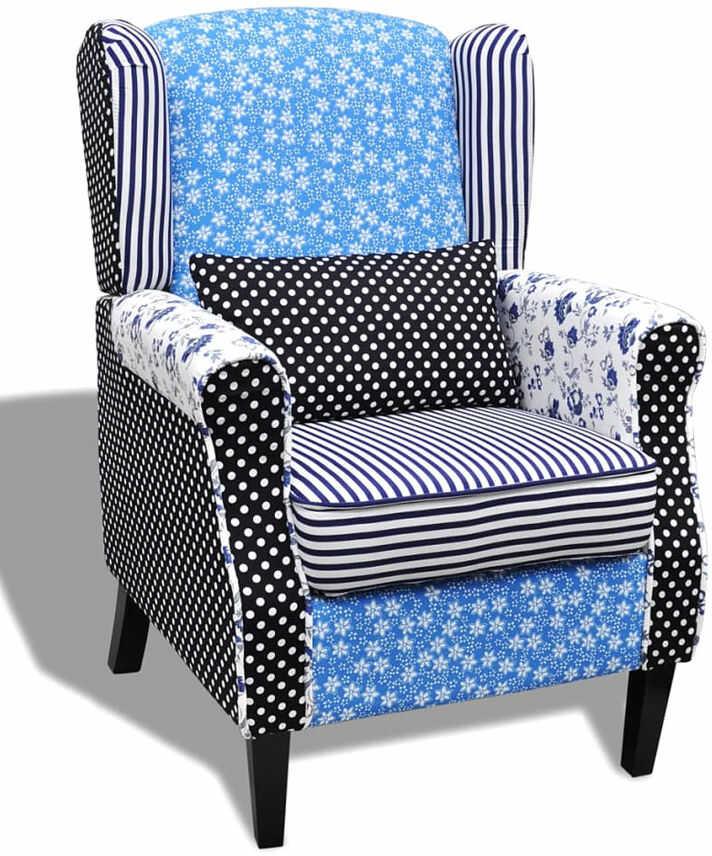 Tapicerowany patchworkowy fotel uszak - Prado