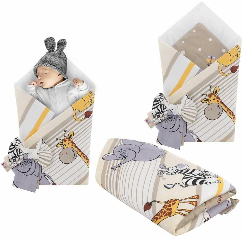 Rożek niemowlęcy bawełniany otulacz dziecięcy becik - SAFARI BRĄZ