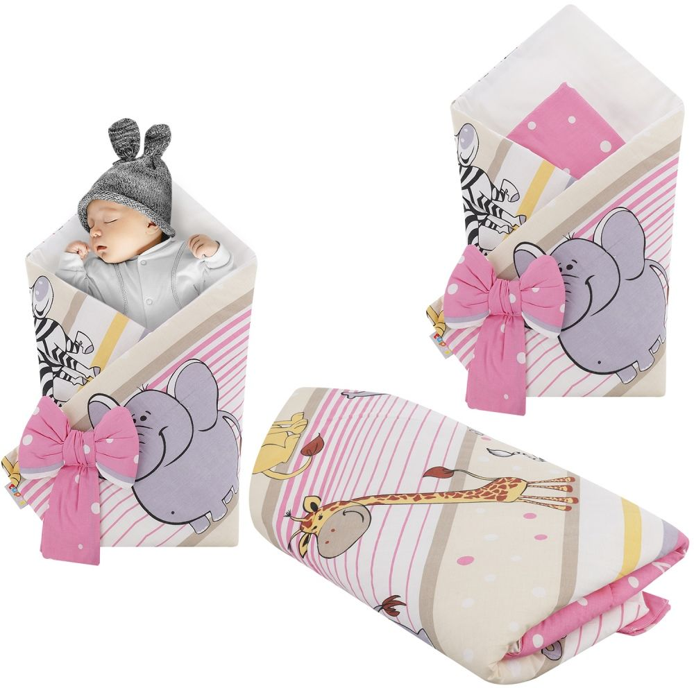 Rożek niemowlęcy bawełniany otulacz dziecięcy becik - SAFARI RÓŻ