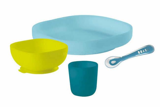 Komplet naczyń z silikonu trójdzielny talerz z przyssawką + łyżeczka - Beaba