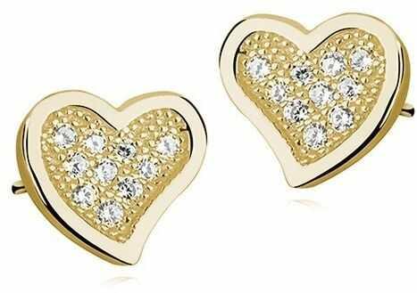 Delikatne pozłacane srebrne kolczyki serca serduszka z cyrkoniami białe cyrkonie srebro 925 Z1063E_G