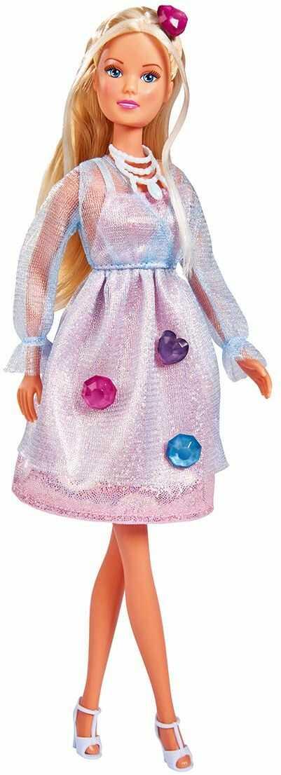 Steffi Love Magic Jewels / lalka w błyszczącej sukience z magicznymi kamieniami do dekoracji włosów lub sukienek / 29 cm / dla dzieci od 3 roku życia