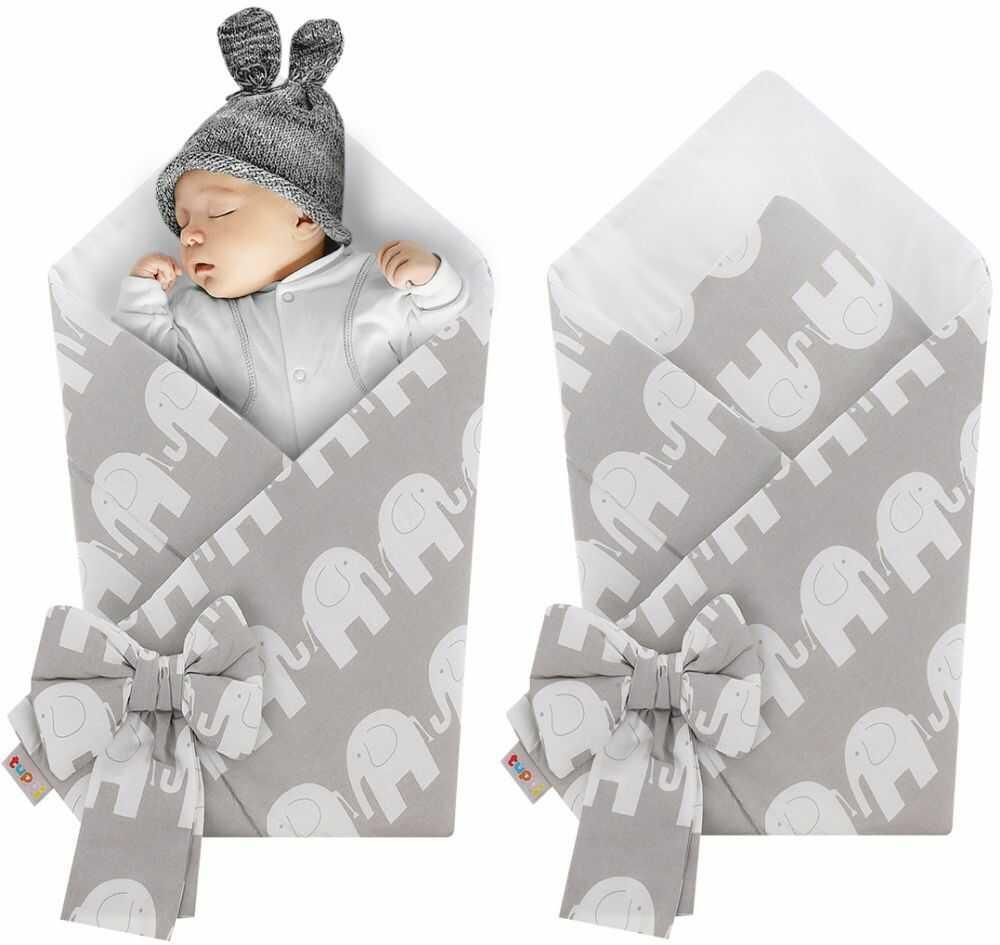 Rożek niemowlęcy bawełniany otulacz dziecięcy becik - SZARE SŁONIE