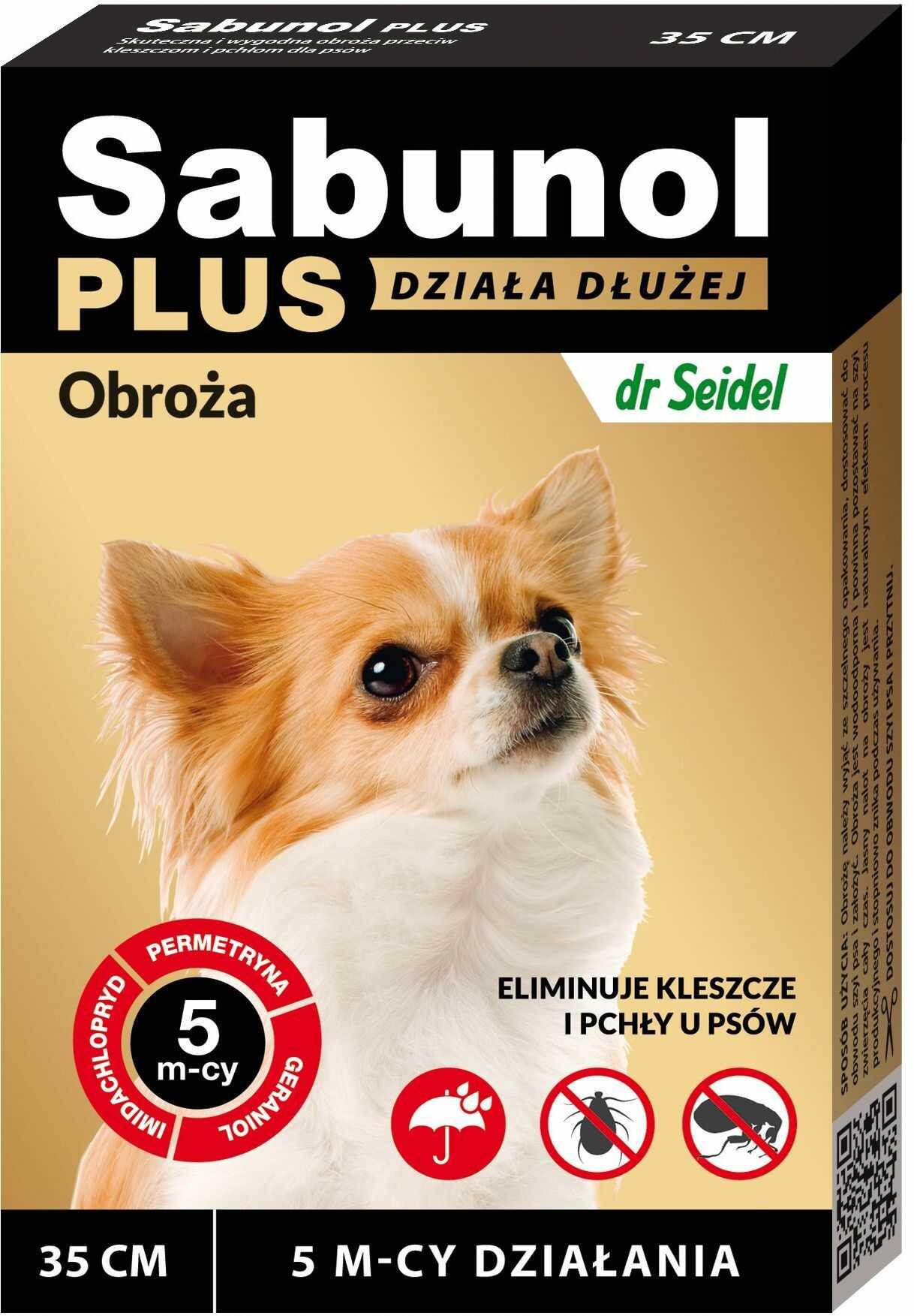 Sabunol Plus obroża przeciw kleszczom i pchłom dla psa 35 cm