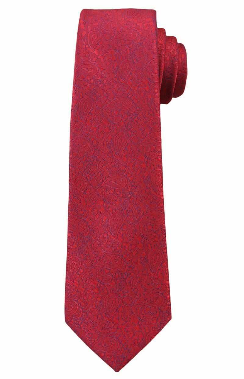 Wyrazisty Krawat Męski z Kwiecistą Fakturą - 6 cm - Angelo di Monti, Czerwony KRADM1333