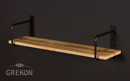 Półka łazienkowa loftowa BELT 80cm + wsporniki, kolor dębu, Gante New York