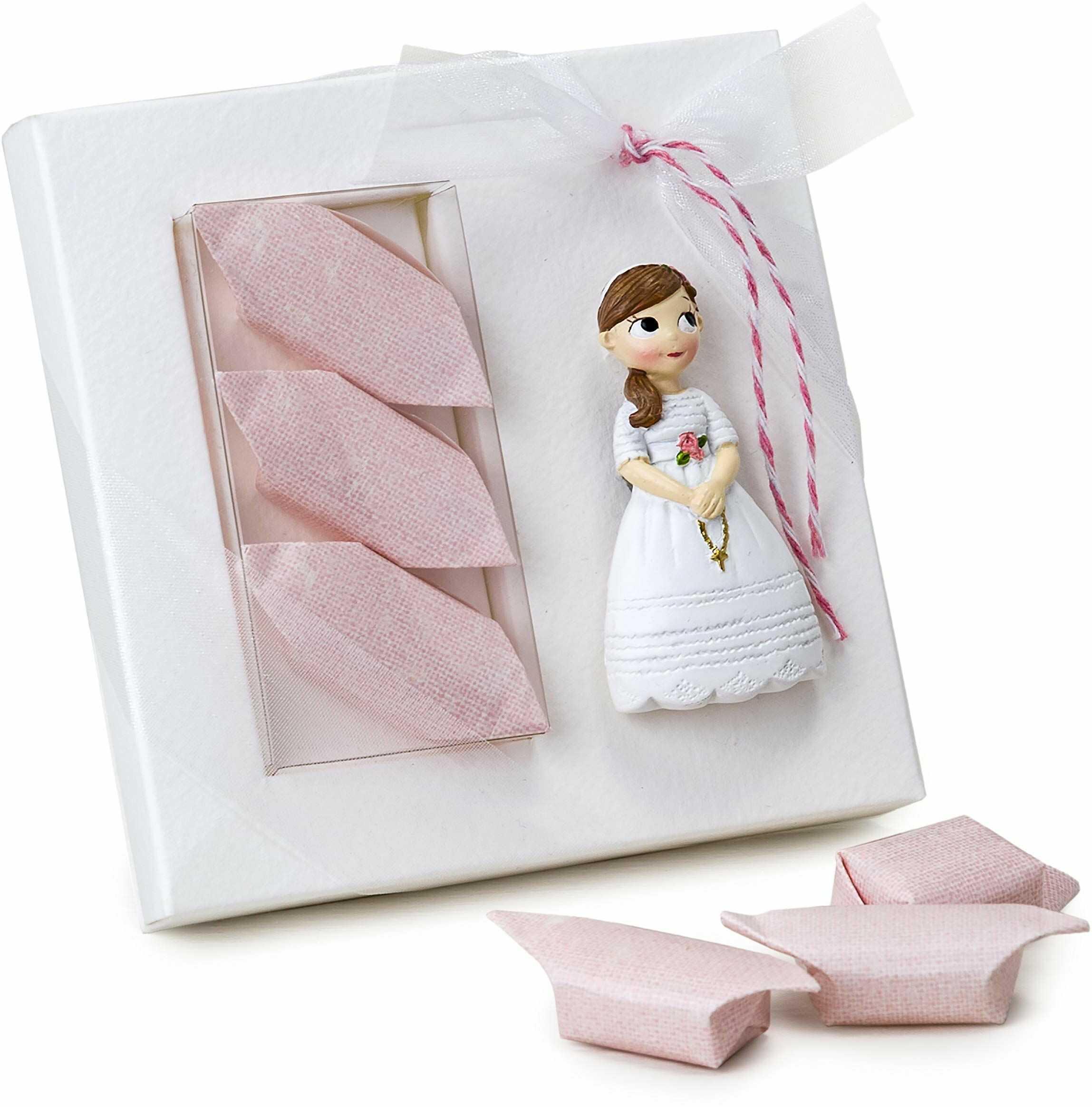 Mopec ZD8580.2 magnes dla dziewczynki na komunię z różańcem i 3 słodyczami, karton, wielokolorowy, rozmiar uniwersalny