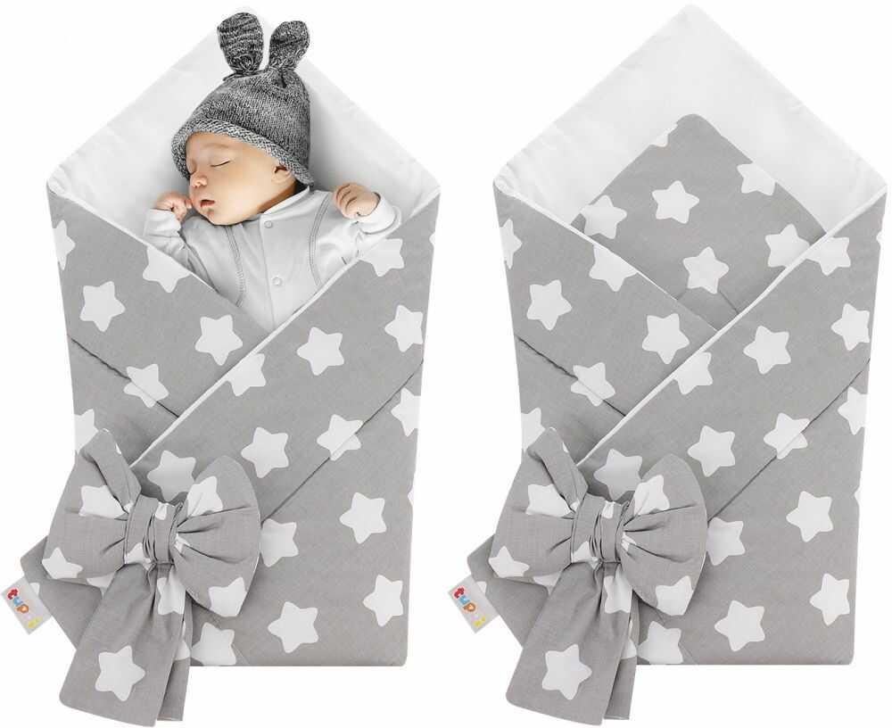 Rożek niemowlęcy bawełniany otulacz dziecięcy becik - BIAŁE PIERNIKI