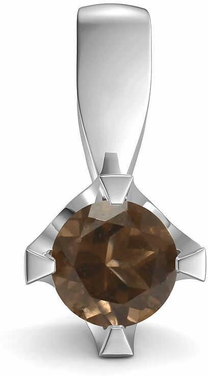 Kuźnia Srebra - Zawieszka srebrna, 14mm, Kwarc Dymny, 1g, model