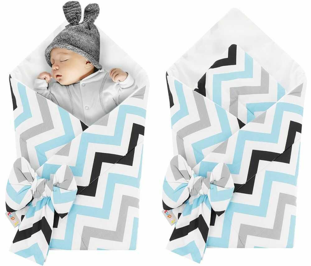 Rożek niemowlęcy bawełniany otulacz dziecięcy becik - ZYGZAK TURKUS