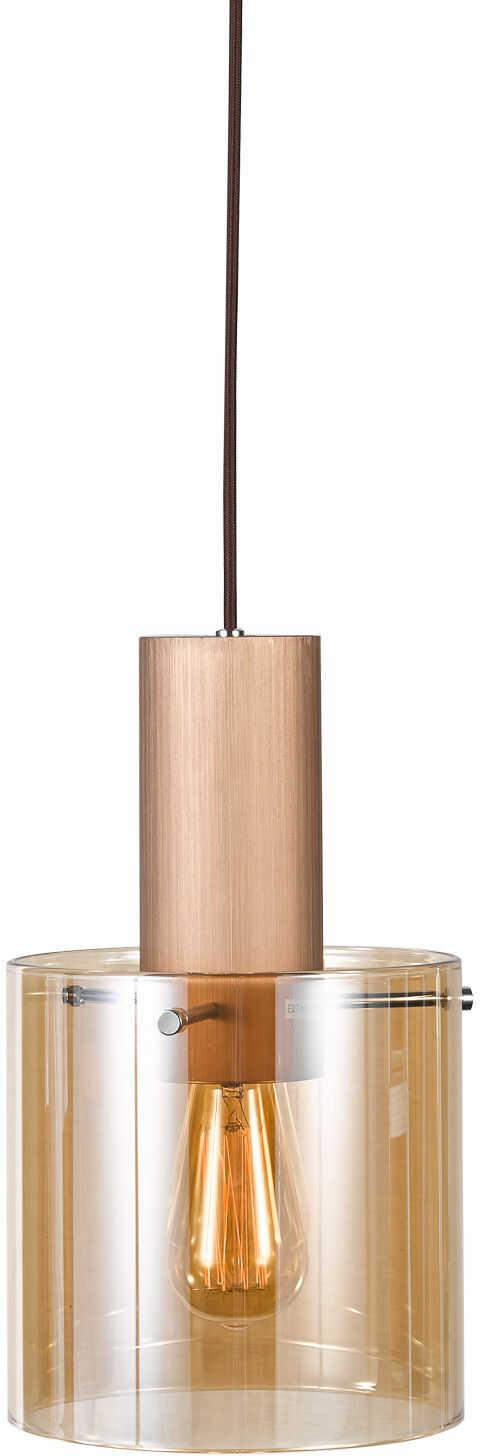 Italux Javier MD17076-1A lampa wisząca nowoczesna metalowa czarny klosz szkło brąz antyczny E27 1x60W IP20 20cm