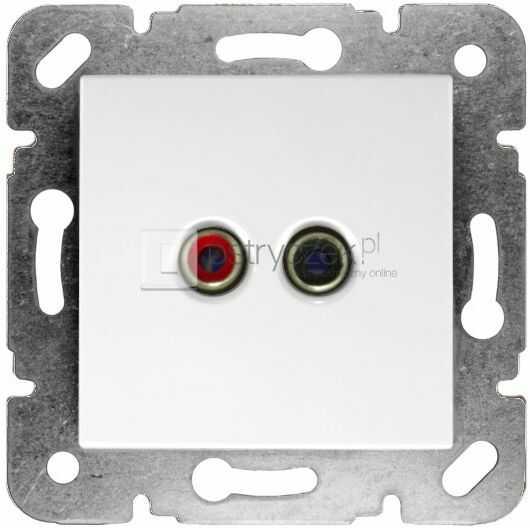 Gniazdo głośnikowe konektor 2 x chinch - Karre Biały