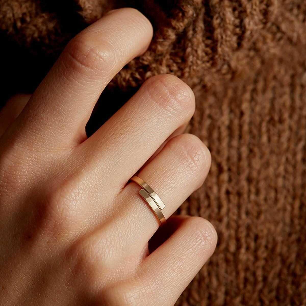 Pierścionek obrączka złota stal szlaczetna