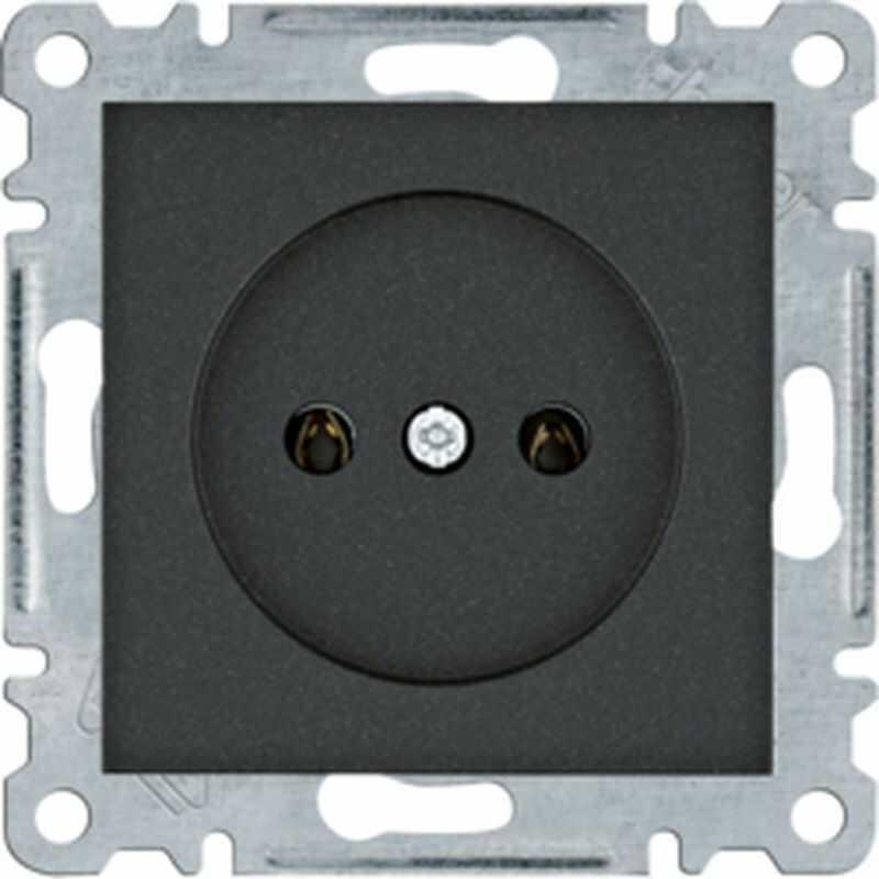 Lumina Gniazdo zasilające bez uziemienia 16A/250VAC czarne WL1013
