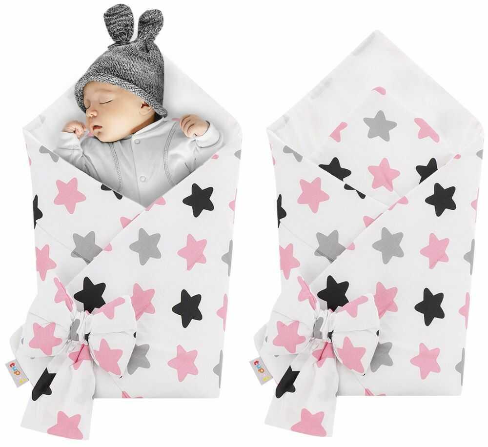 Rożek niemowlęcy bawełniany otulacz dziecięcy becik - RÓŻOWO SZARO CZARNE PIERNIKI