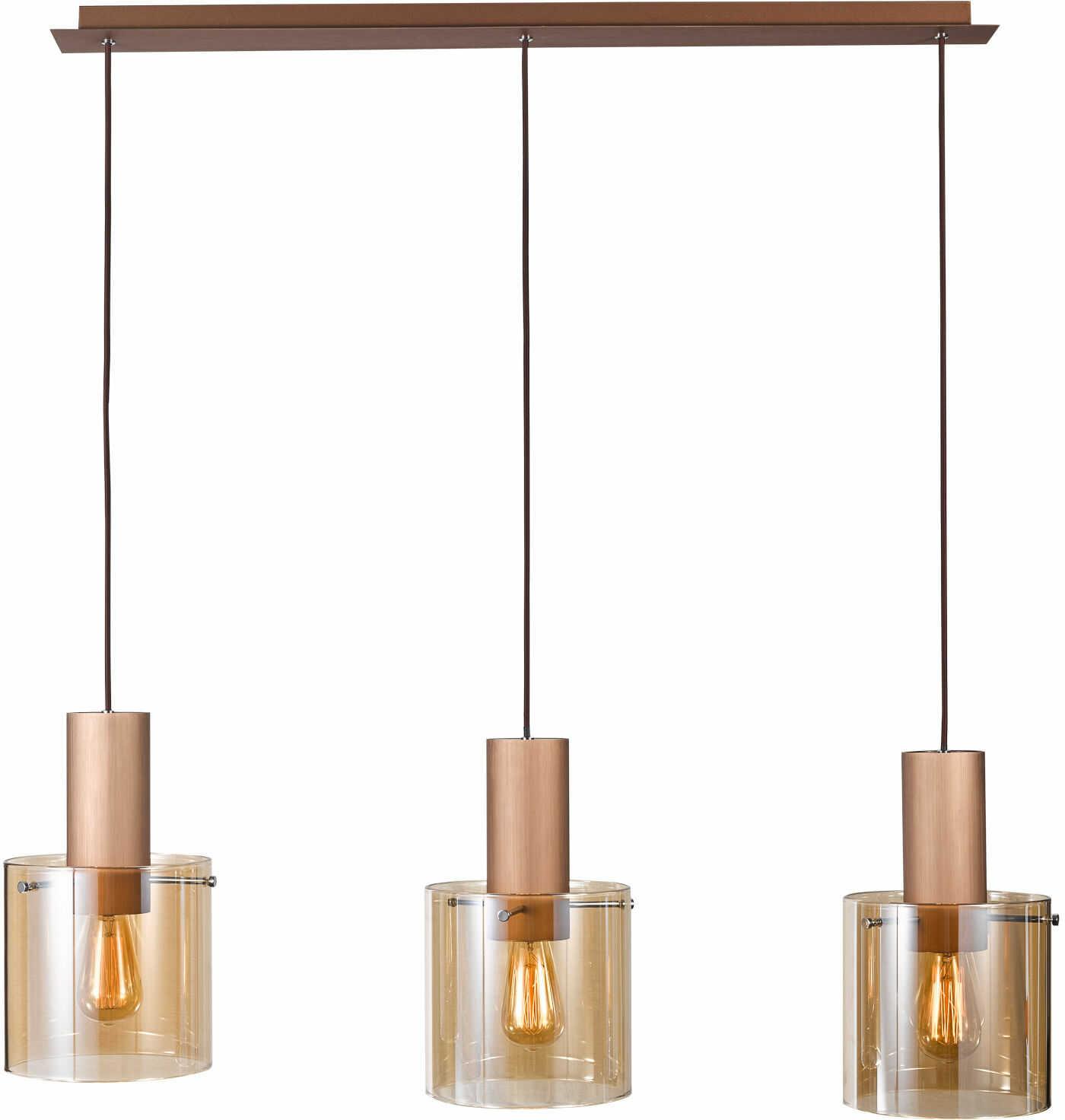 Italux Javier MD17076-3B lampa wisząca nowoczesna metalowa czarny klosz szkło brąz antyczny E27 3x60W IP20 90cm