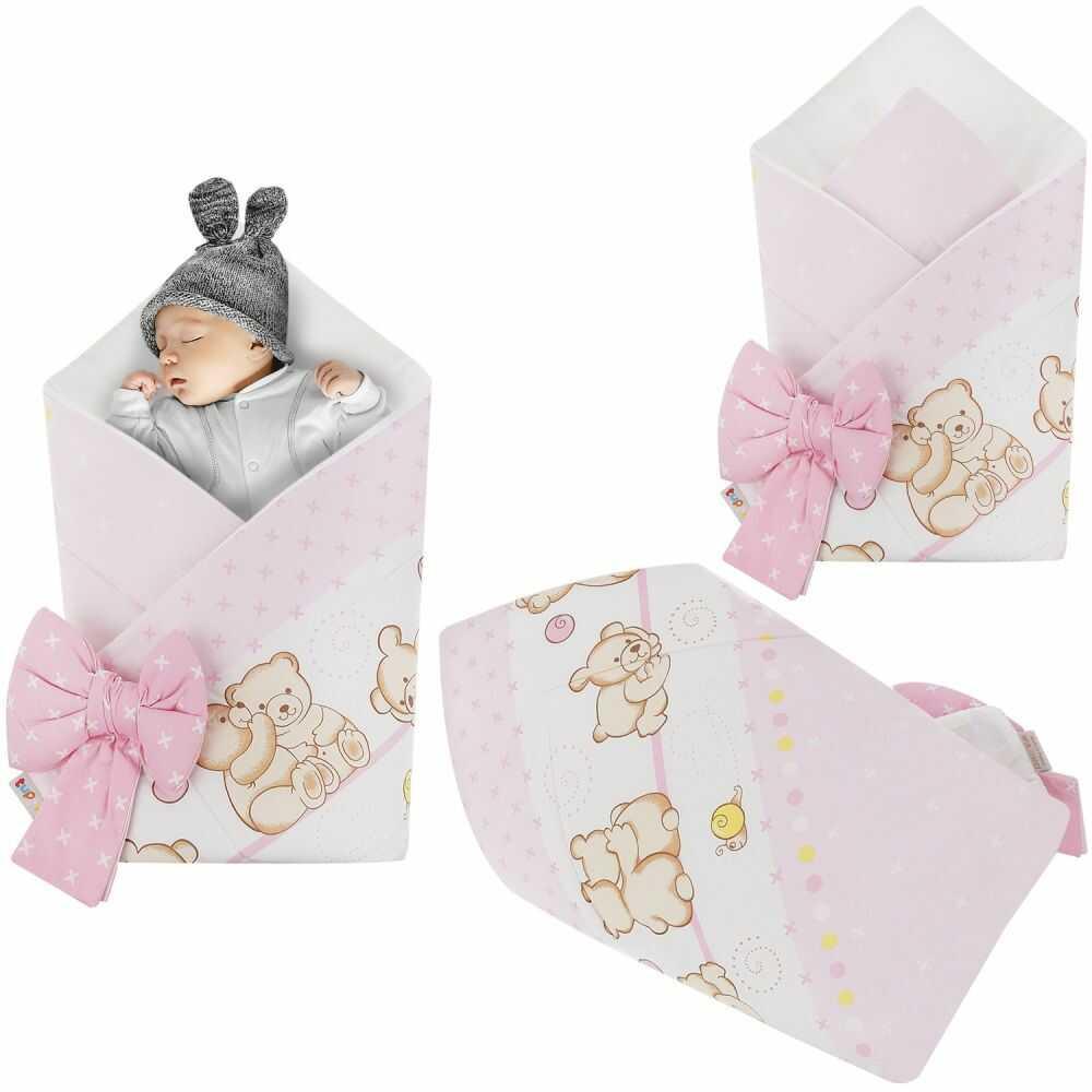 Rożek niemowlęcy bawełniany otulacz dziecięcy becik - MIŚ PRZYJACIEL RÓŻ