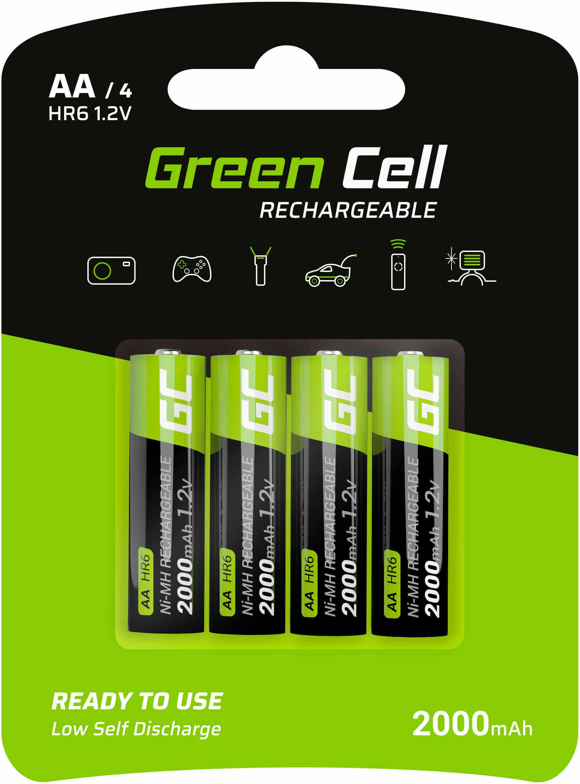 Baterie Akumulatorki Paluszki 4x AA HR6 2000 mAh Green Cell