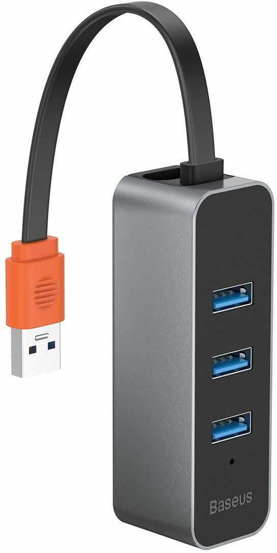 Adapter HUB Baseus USB na 3x USB 3.0 + RJ-45 (szary