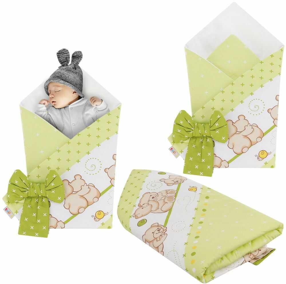Rożek niemowlęcy bawełniany otulacz dziecięcy becik - MIŚ PRZYJACIEL ZIELEŃ