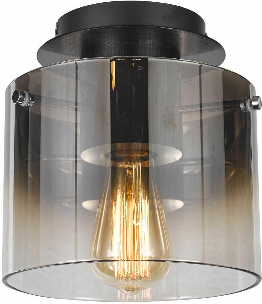 Italux Javier MX17076-1A BK plafon lampa sufitowa nowoczesna metalowa czarny klosz szkło dymny E27 1x60W IP20 23cm
