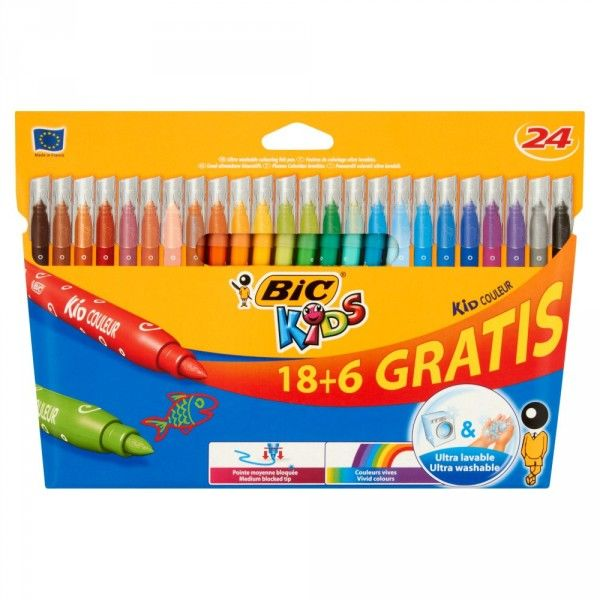 Flamastry BIC KID COULEUR, 24 kolory -  Rabaty  Porady  Hurt  Autoryzowana dystrybucja  Szybka dostawa