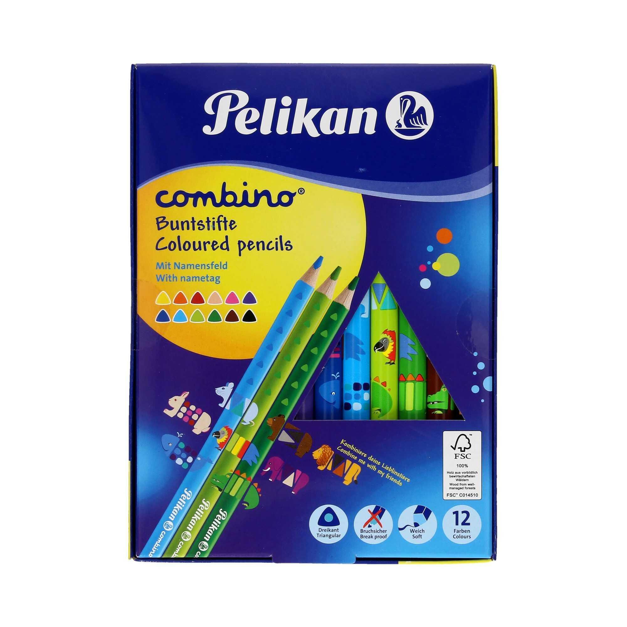Kredki ołówkowe 12kol trójkątne Combino Pelikan